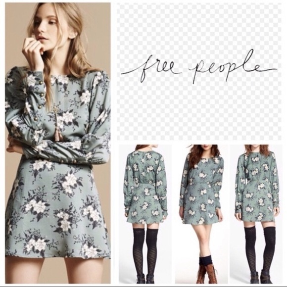 3b30c5990a54 Free People Dresses   Skirts - Free People Floral Green long sleeve dress